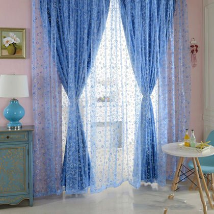 100 x 200cm Shimmery Circle Printed Voile Door Window Sheer Curtain Panel Drape