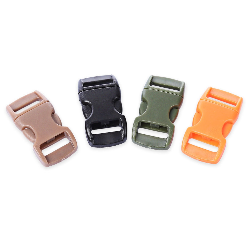 100pcs / Lot Outdoor Survival Paracord Bracelet Accessory Curved Plastic Button Buckle
