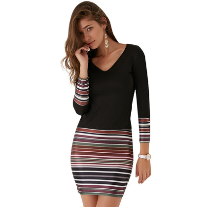 Long Sleeve V-neck Colorful Striped Women Dress