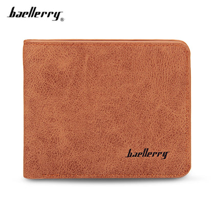 baellerry Solid Color Letter Open Short Horizontal Men Wallet