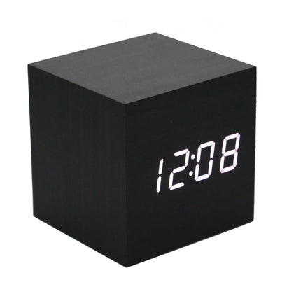 Multifunction Display Thermometer Wooden Alarm Clock