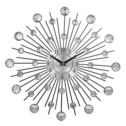 Crystal Sunburst Metal Clock Home Art Decor Diameter 13 inch