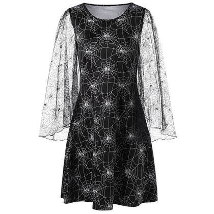 Halloween Lace Sleeve Spider Web Print Dress
