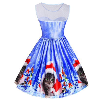 Christmas Cat Snowflake Mesh Panel Dress