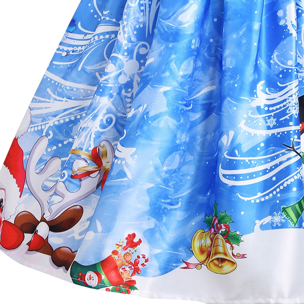 Christmas Snowman Snowflake Mesh Panel Dress