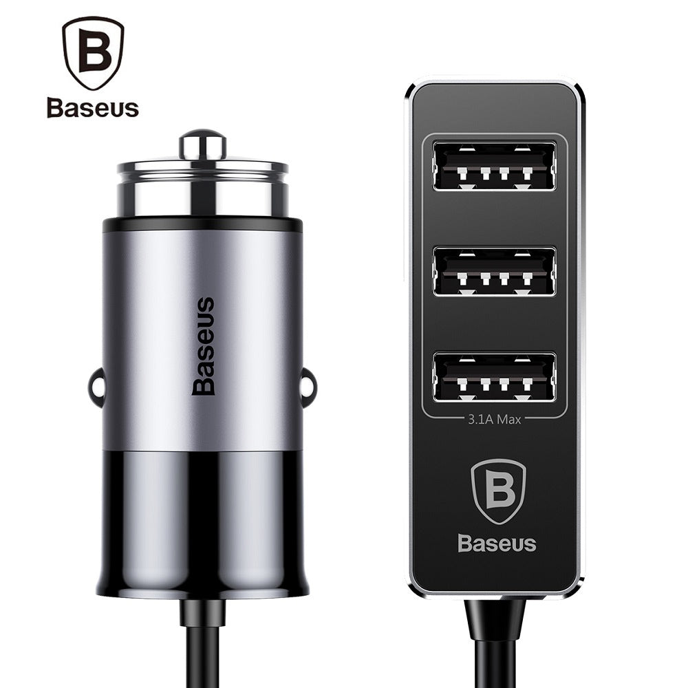 Baseus Car Charger Front Single Port Rear Three USB