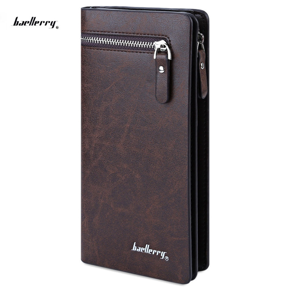 Baellerry Solid Color Cell Phone Money Photo Card Clutch Wallet for Men