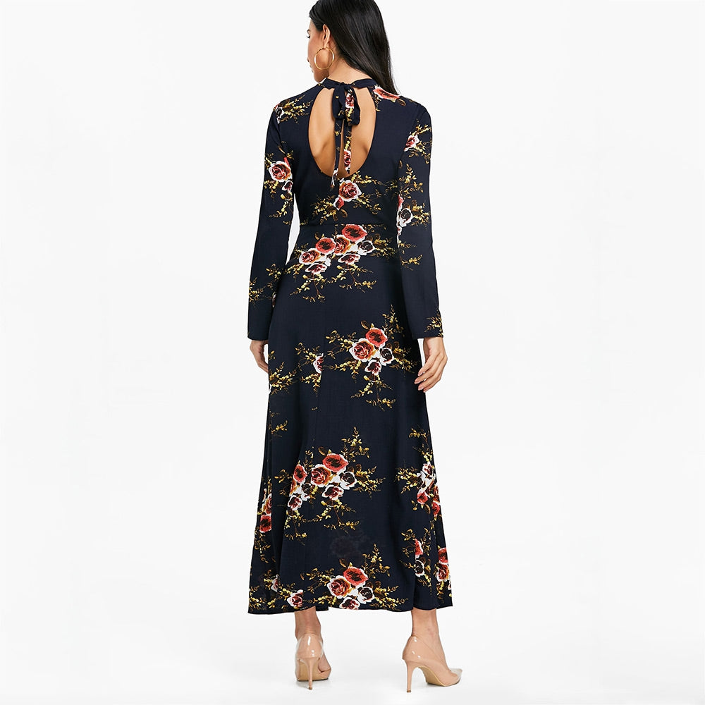 Floral Print Cut Out Maxi Flare Dress