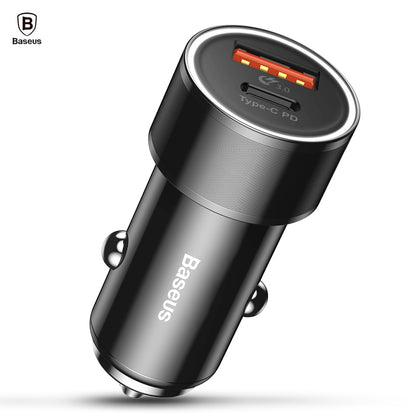 Baseus Small Screw Type-C PD + USB QC3.0 Quick Car Charger