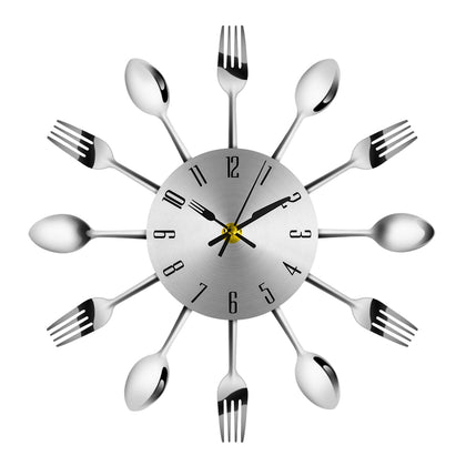 Novel Stainless Steel Knife Fork Spoon Analog Wall Clock Home Decoration
