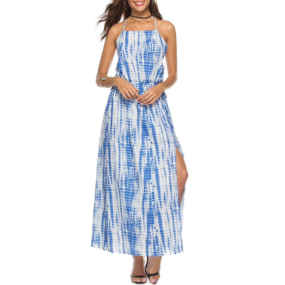 Tie Dyed Printed Backless Maxi Dress