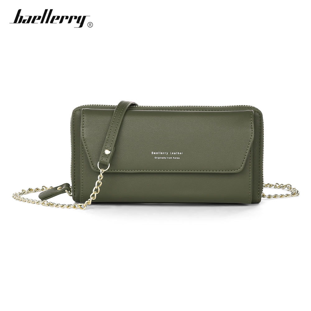 Baellerry Women PU Leather Chain Crossbody Shoulder Phone Bag Long Wallet