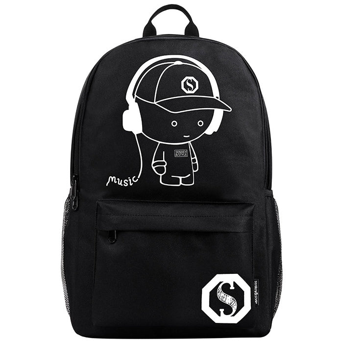 Anime Cartoon Luminous Backpack with USB Charging Port and Lock &Pencil Case