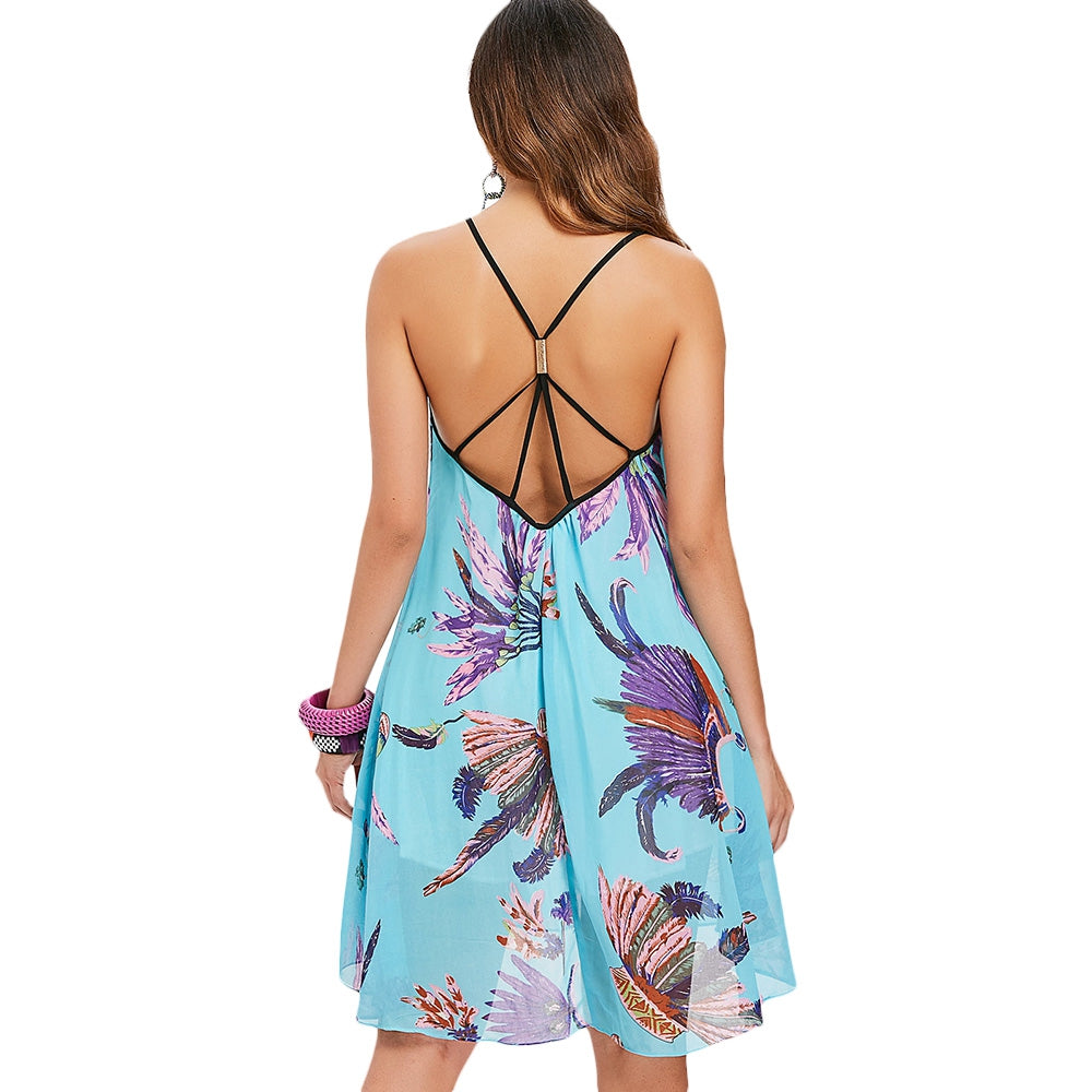 Low Back Printed Summer Dress