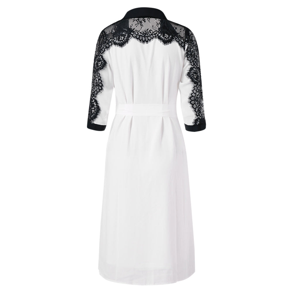 Two Tones Belted Lace Trim Asymmetrical Chiffon Shirtdress