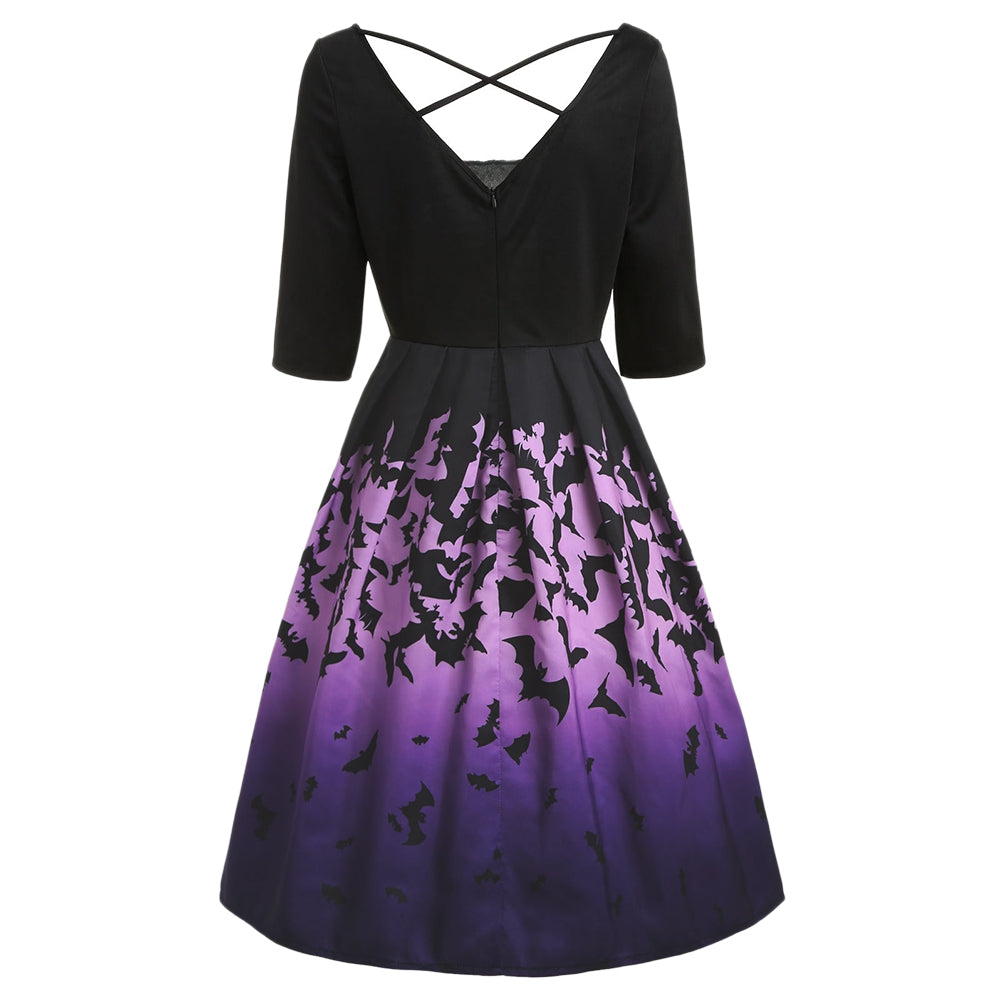 Halloween Bats Print Midi Vintage Dress