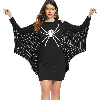 Spider Print Long Sleeve Halloween Costume Dress