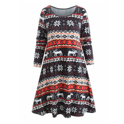 Christmas Elk Print Casual Dress