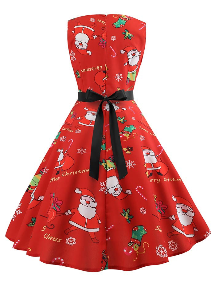 Christmas Santa Claus Print High Waist Dress
