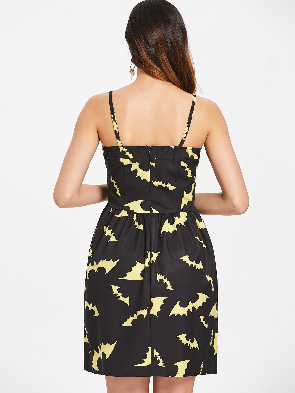 Halloween Bats Print Buckle Up Dress