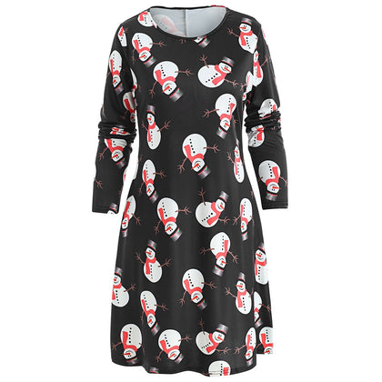 Christmas Snowman Print Mini Swing Dress