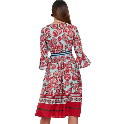 Flare Sleeve Printed Midi A Line Dress