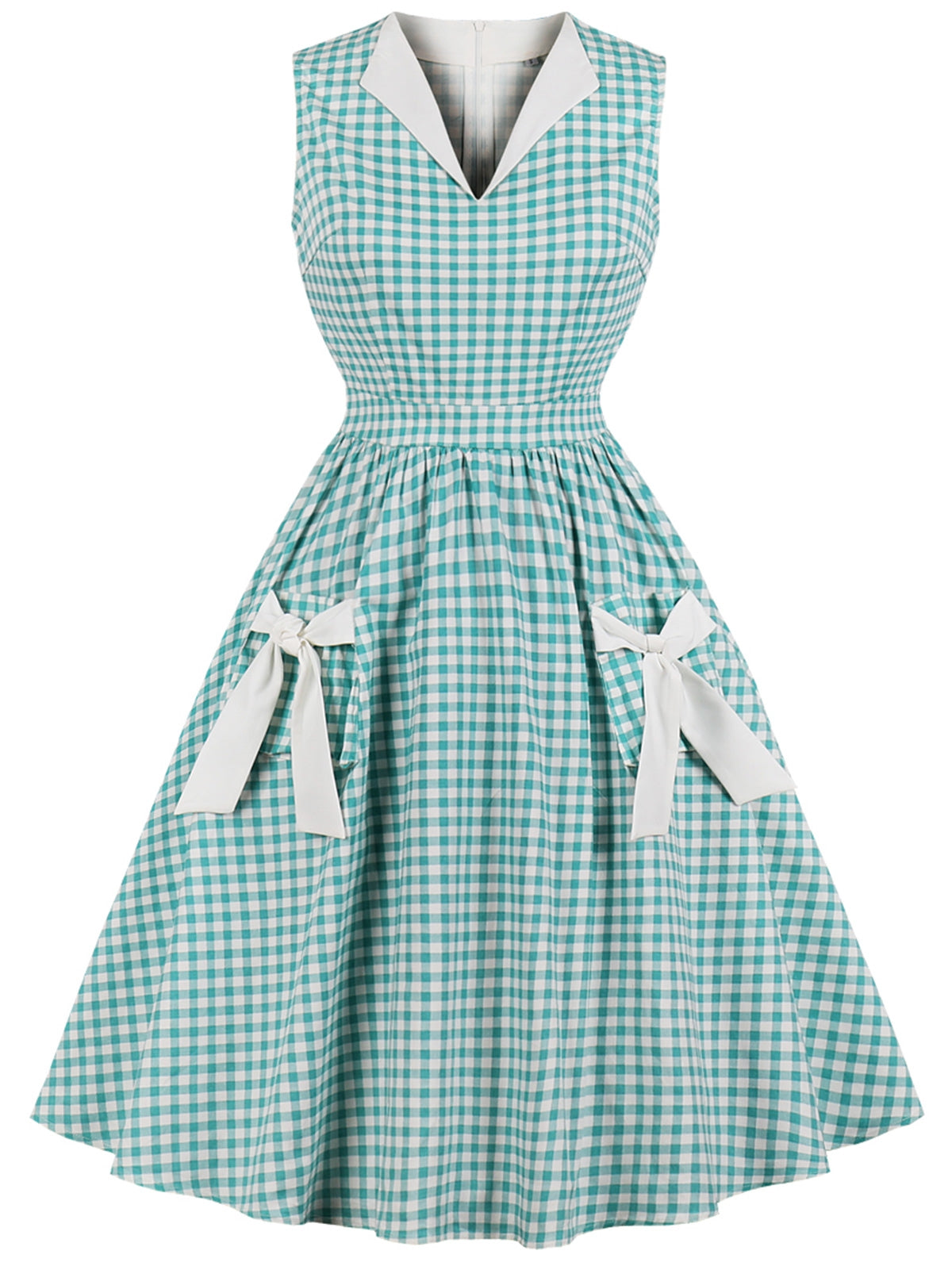 Vintage Gingham Bowknot Pin Up Dress