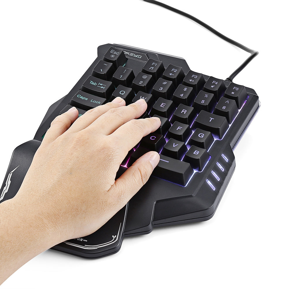 G30 Wired Gaming Keypad with LED Backlight 35 Keys One-handed Membrane Keyboard