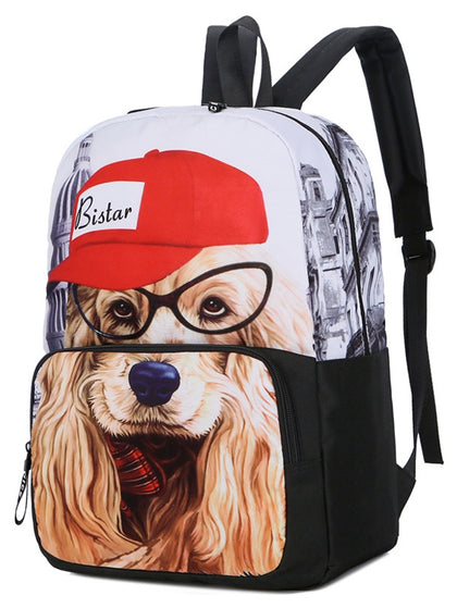 Dog Pattern Large Capacity School Backpack