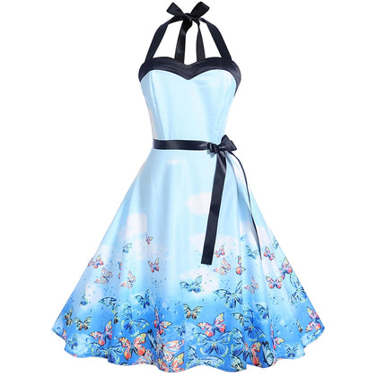Vintage Halter Butterflies Print Pin Up Dress