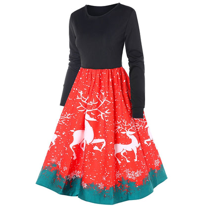 Christmas Reindeer Print Long Sleeve Swing Dress