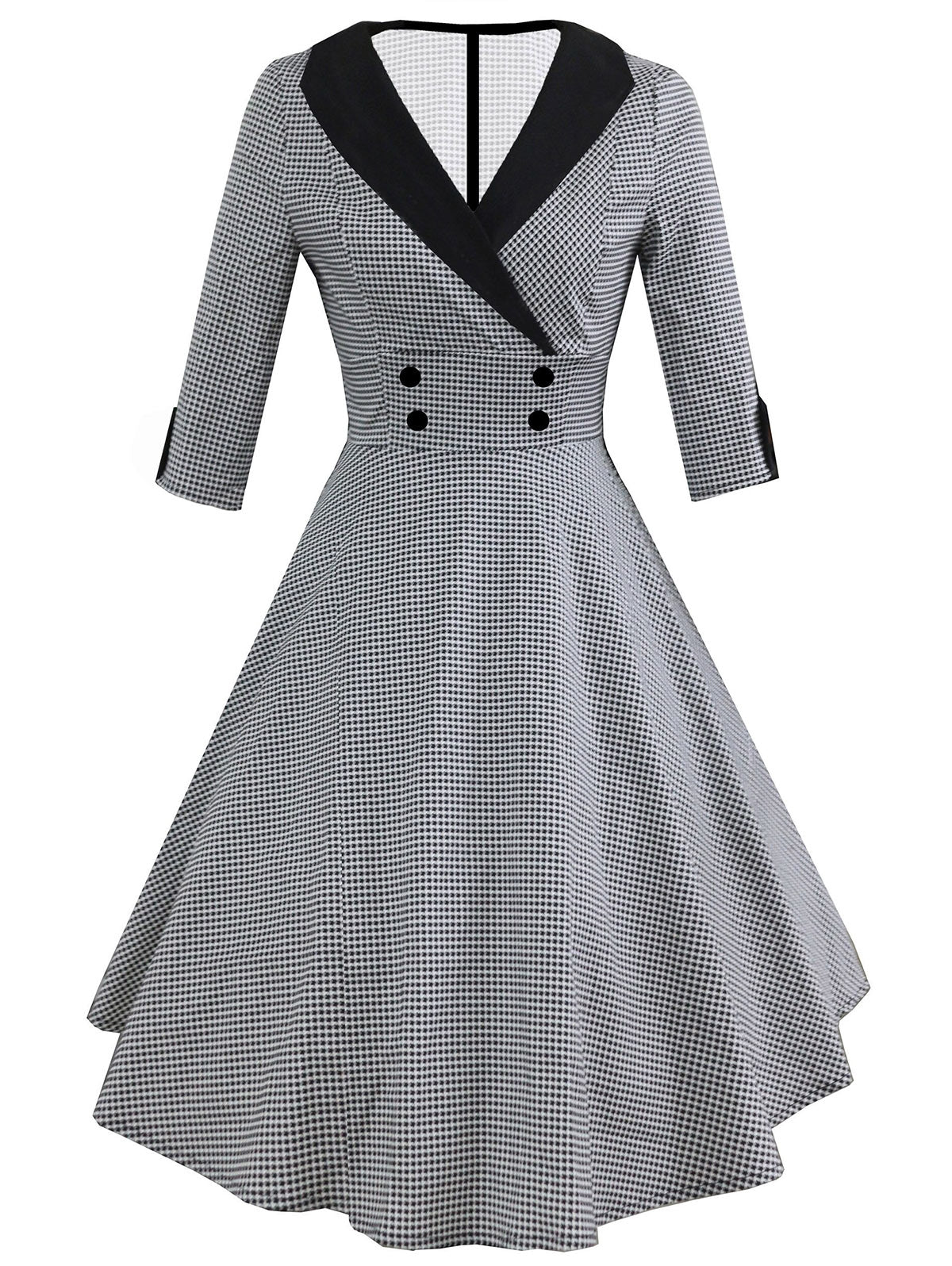 Vintage Shawl Collar Dotted Pin Up Dress