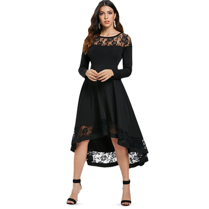 Rose Lace Insert Long Sleeve Dress