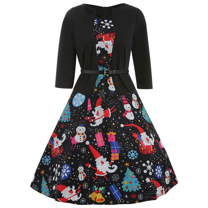 Christmas Snowman Print Three Quarter Sleeve Dress