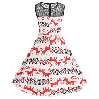 Christmas Elk Snowflake Print Pin Up Dress