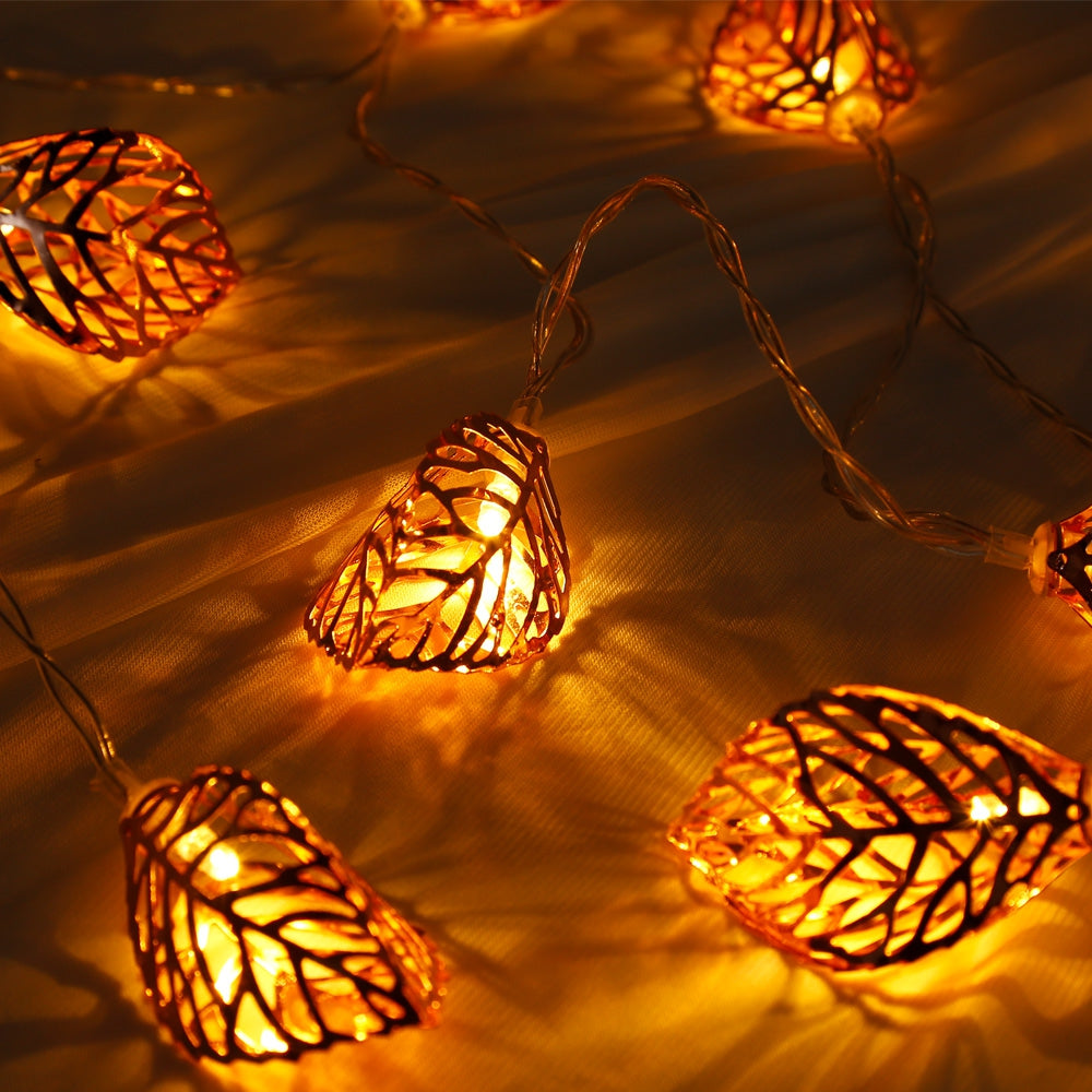 1.5M 10 LEDs Leaves Light String Lamp for Home Party Festival