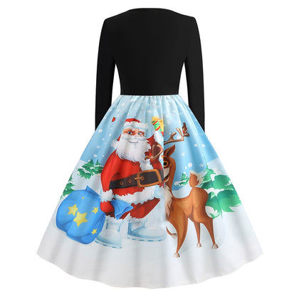 Vintage Santa Claus Elk Snowflake Print Christmas Dress