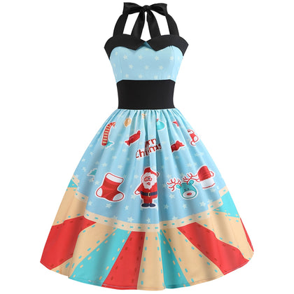 Christmas Printed Halter Neck Vintage Dress