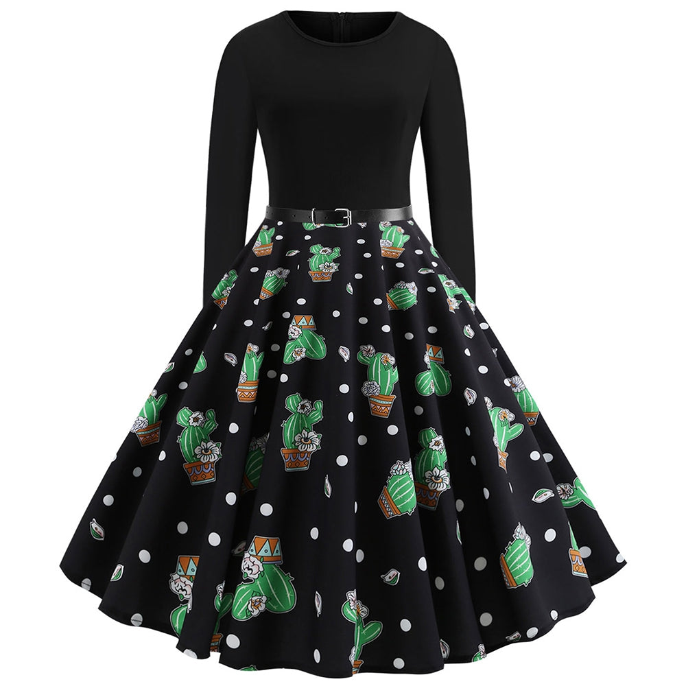 Cactus Print Long Sleeve Vintage Dress