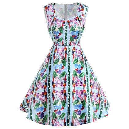 Flower Print Sleeveless Vintage Dress