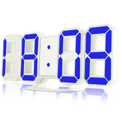 Famirosa TS - S60 - W 3D LED Digital Alarm Clock 24 / 12 Hours Display for Home Kitchen Office