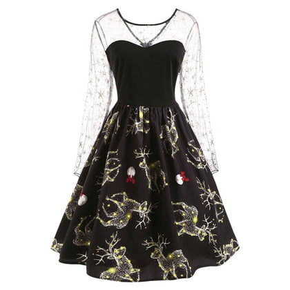 Deer Pattern Christmas Mesh Panel Dress