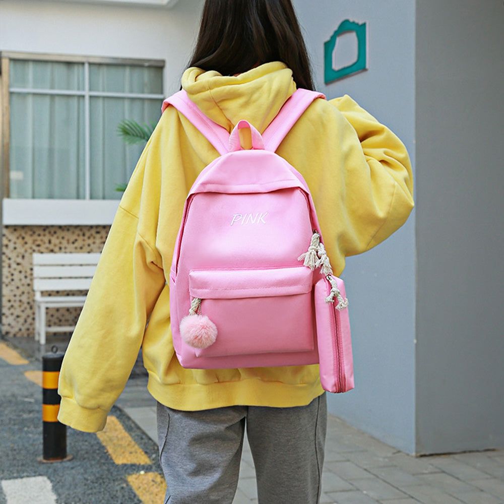 4PCS Girls Casual Bag Letter Embroidered Lightweight Women Backpack