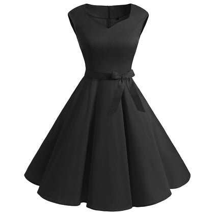 Vintage Sweetheart Neck Fit and Flare Dress