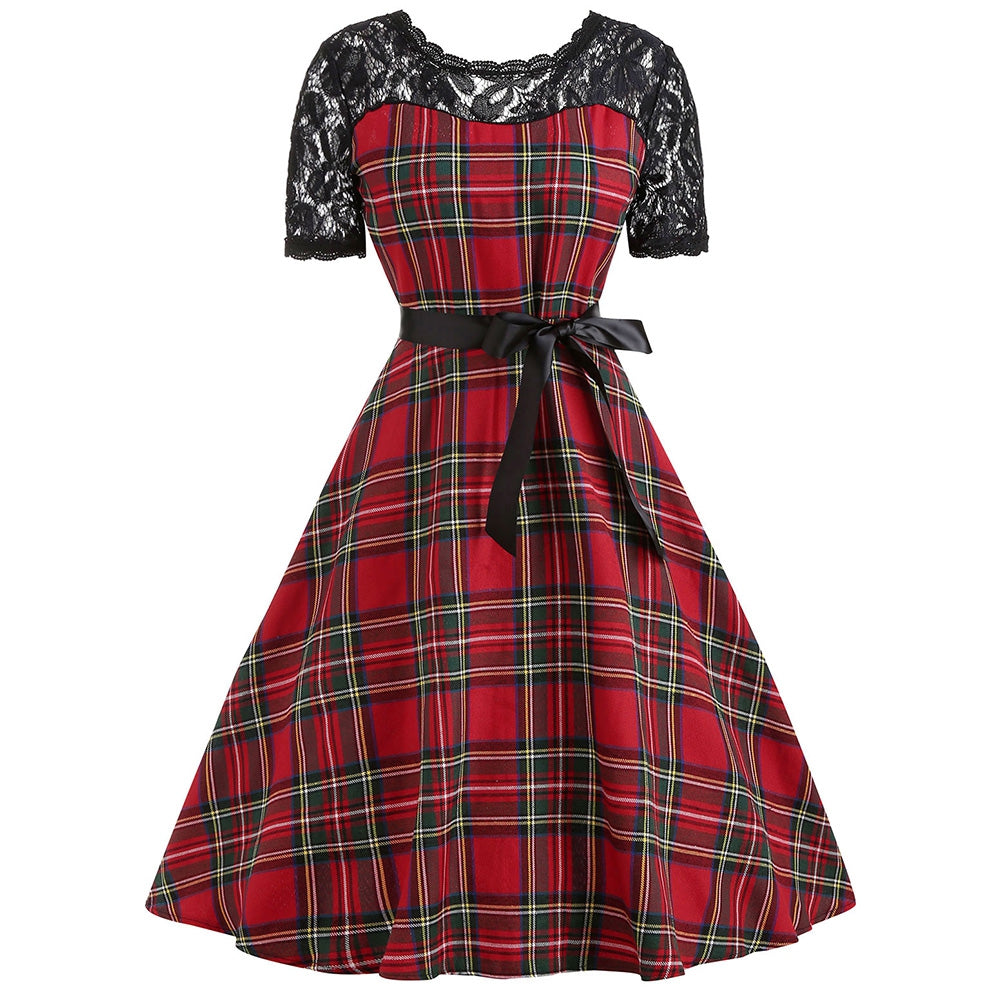 Vintage Lace Insert Plaid Pin Up Dress
