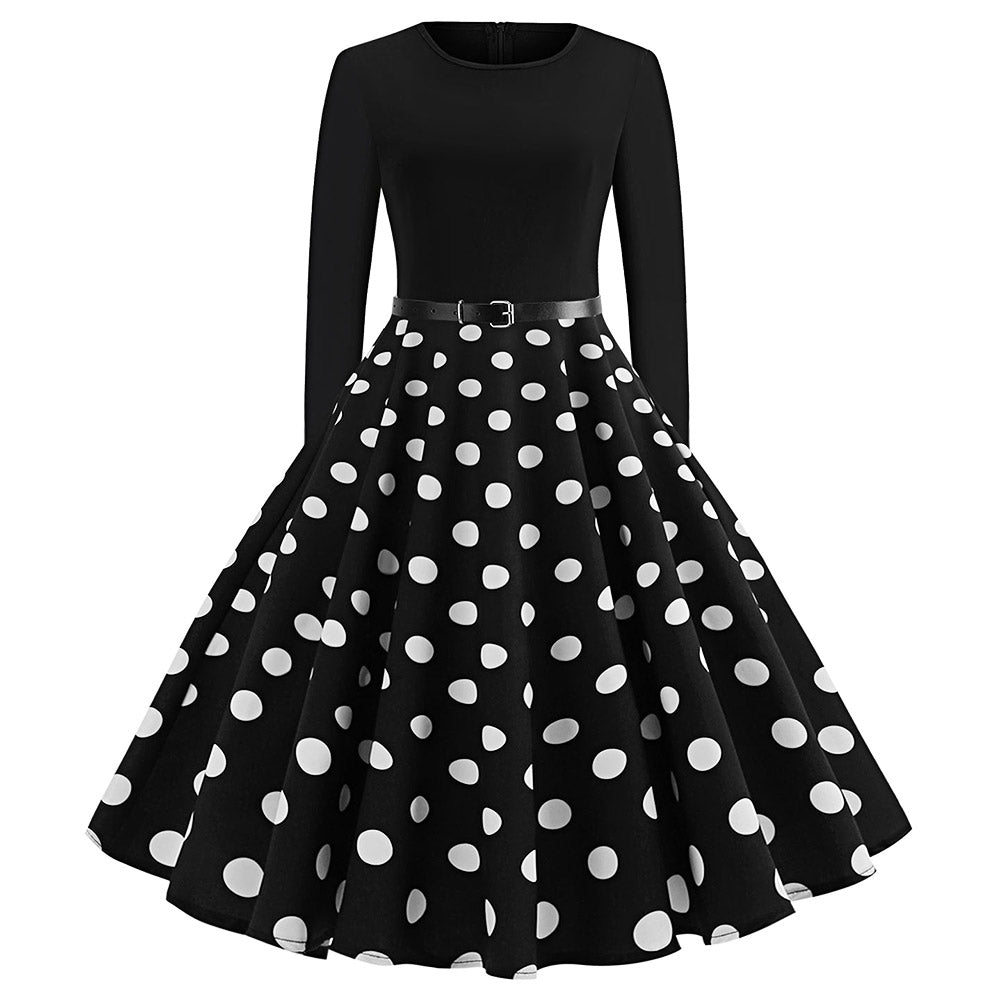Vintage Long Sleeve Polka Dot Pin Up Dress