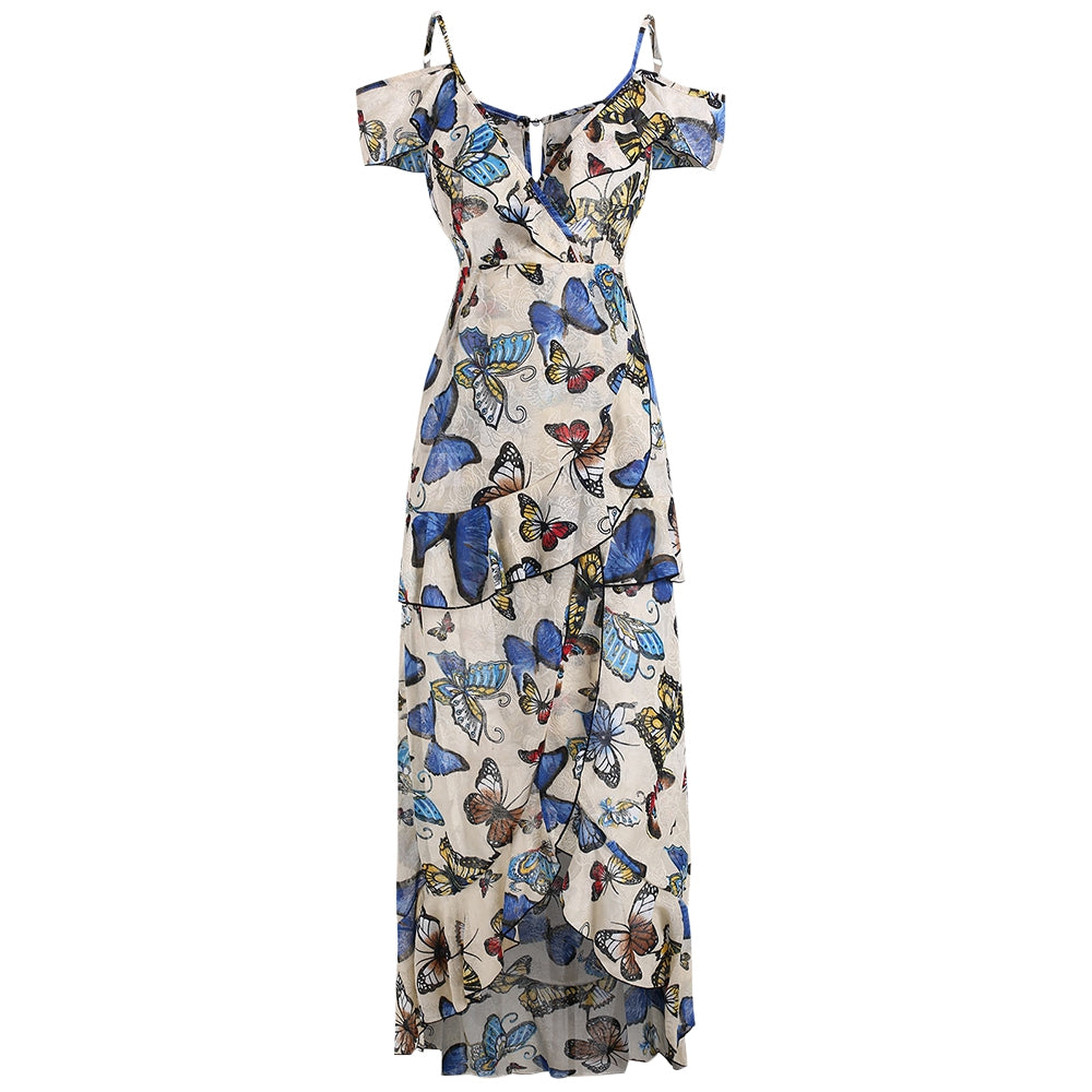 Butterfly Print Cold Shoulder Ruffle Dress