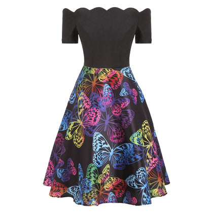 Scalloped Butterfly Print Flare Dress