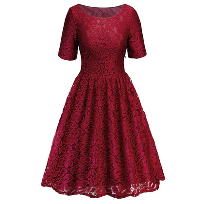 Short Sleeve High Waist Lace Dress