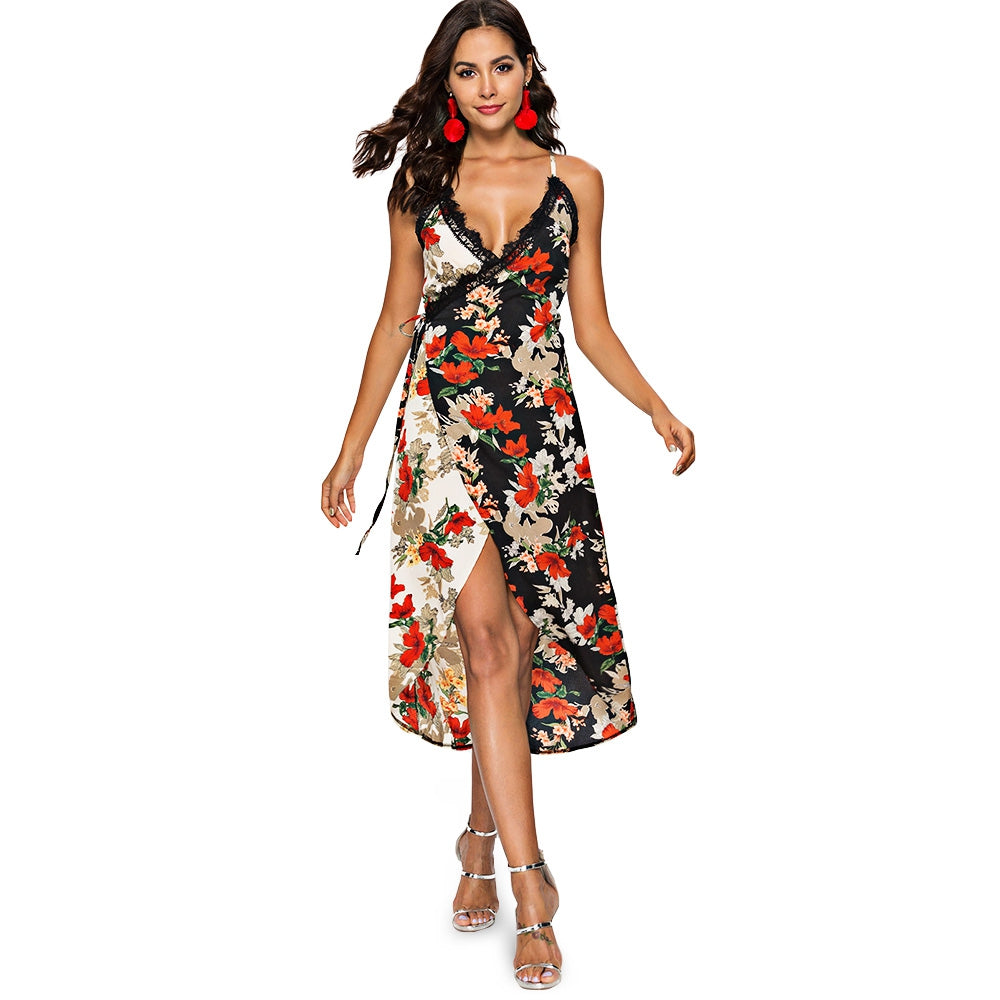 Eyelash Lace Panel Floral Print Wrap Dress